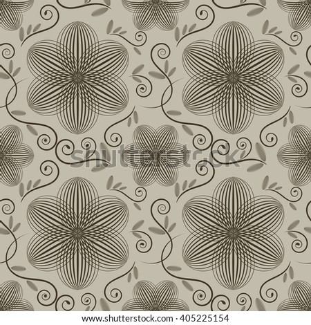 Seamless ornate wallpaper pattern with flower buds. - stock photo