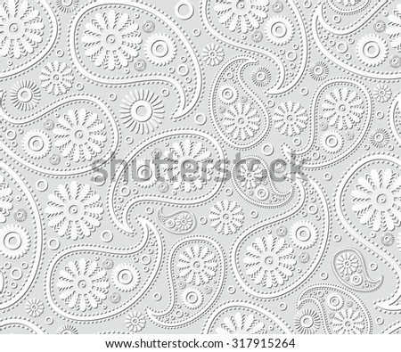 seamless paisley ornament black white  floral art background - stock photo