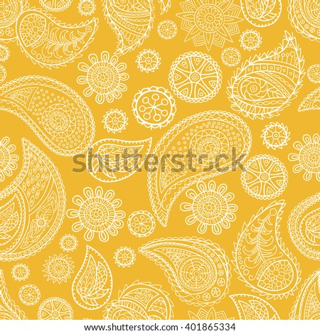 Seamless paisley pattern. Hand-drawn and painted.