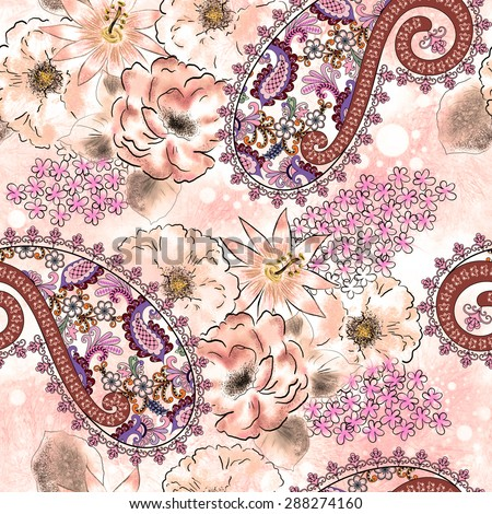 seamless paisley pattern is decorated with large and small pink flowers on blurred light background with polka dots - stock photo
