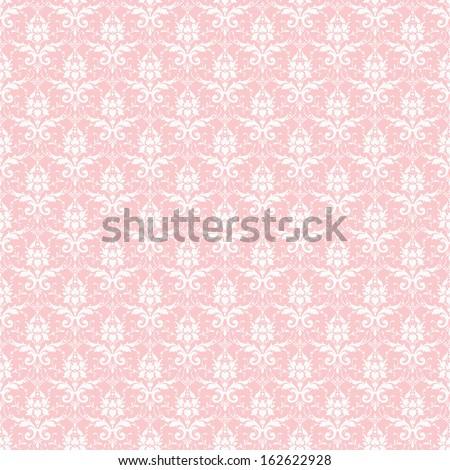 Seamless Pastel Pink & White Damask - stock photo
