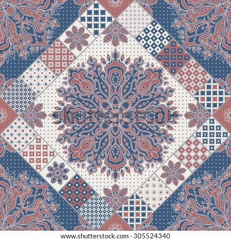 Seamless patchwork pattern from dark blue, terracotta, beige and light grey oriental ornaments, polka dot patterns, Indian style decorative rosette from stylized flowers and leaves. Textile print - stock photo