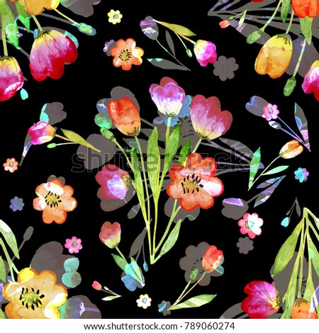 seamless pattern abstracts floral composition tulips