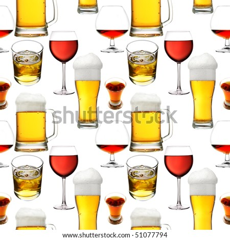 Seamless pattern - Alcohol  beverages over white background - stock photo
