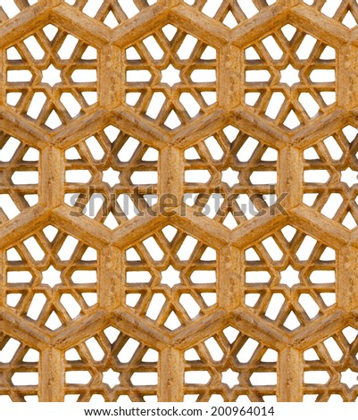 Seamless pattern. Ancient traditional ornament - brown sandstone grill. India - stock photo