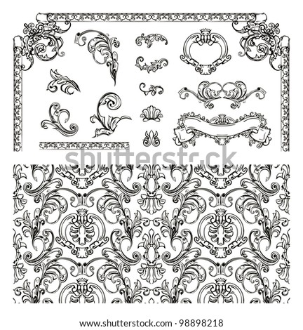 Seamless pattern and design elements, bitmap copy - stock photo