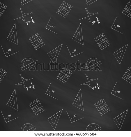Seamless pattern back to school. black blackboard written with white chalk schedule, formula, line, triangle, calculator, protractor and angle. Design elements for the design of school manuals
