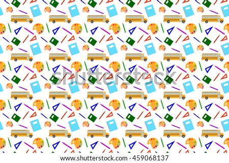 Seamless Pattern Back to School. Set of School Supplies, Poster in a Flat Style. Raster Illustration