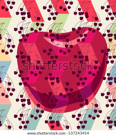 Seamless pattern background. Cherries over abstract geometrical shapes composition. Summer motif