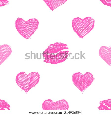 seamless pattern background with lipsticks prints and doodle hearts - stock photo