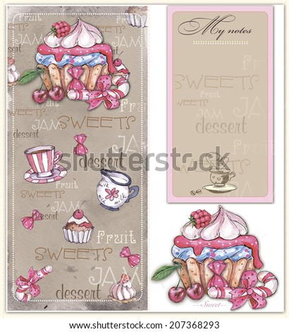 seamless pattern, banner for notes and  drawn  with  sweets and cake