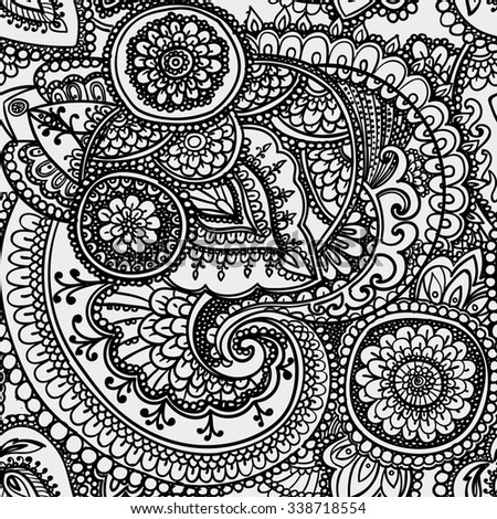 Seamless pattern based on traditional Asian elements Paisley. Black and white.