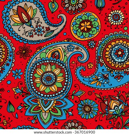 Seamless pattern based on traditional Asian elements Paisley. Bright multi-colored pattern on a red background. - stock photo