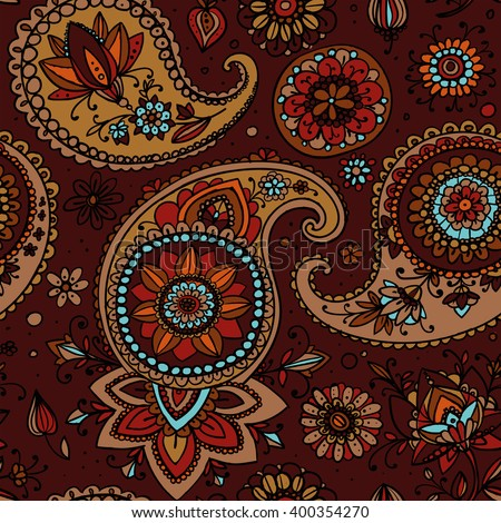 Seamless pattern based on traditional Asian elements Paisley. Brown tone. - stock photo