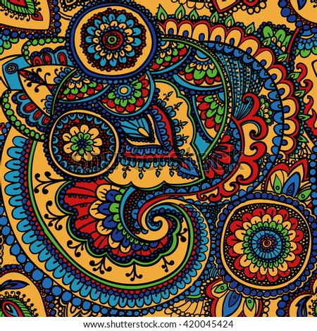 Seamless pattern based on traditional Asian elements Paisley. Colorful pattern . - stock photo