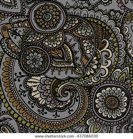 Seamless pattern based on traditional Asian elements Paisley. Earthy tones . Grey and gold . - stock photo