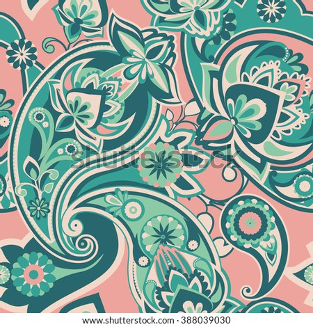 Seamless pattern based on traditional Asian elements Paisley. Green and pink. - stock photo