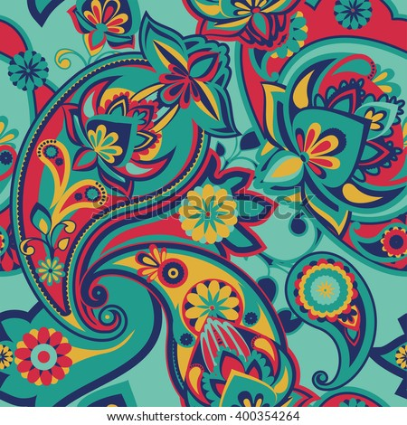 Seamless pattern based on traditional Asian elements Paisley. Mint green and warm pink. - stock photo
