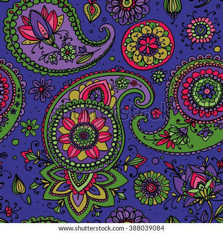 Seamless pattern based on traditional Asian elements Paisley. Purple, pink, green. - stock photo