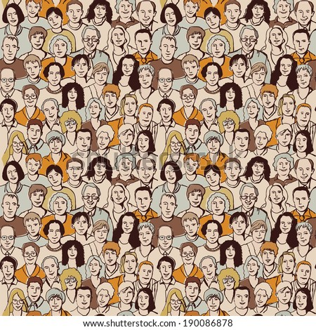 Seamless pattern big group unrecognizable people - stock photo