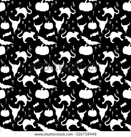 seamless pattern black and white consisting of important symbols of Halloween - black cat , pumpkin, devil , demon , candy , bat , letter , from which we can create a happy Halloween - stock photo
