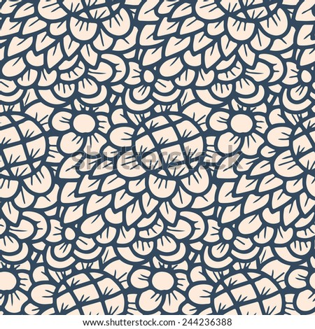 Seamless pattern - black and white flower background.