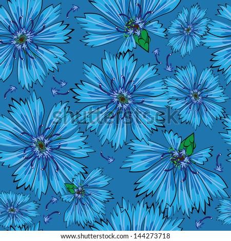 seamless pattern blue cornflower flowers - stock photo