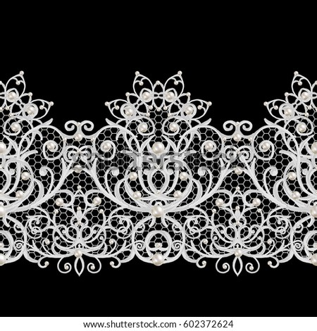 Seamless pattern border. Openwork weaving delicate, silver background, shiny lace, vintage old style arabesques. Edging decorative. Decoration from pearls, beads.