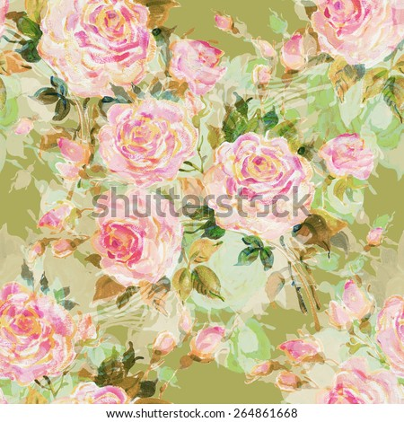 Seamless pattern bouquet of bright roses. Beautiful pattern of motif handmade paint on paper. Vintage decor. Making any printed products. Fashionable print. - stock photo
