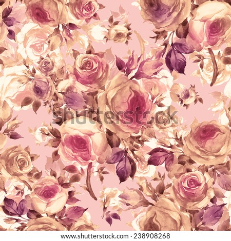 Seamless pattern bouquets of roses G - stock photo