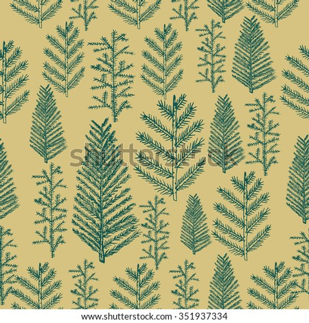 Seamless pattern christmas tree fir pine on gold background. illustration hand drawn   - stock photo