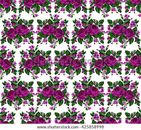 Seamless. Pattern. Color bouquet of flowers (roses and cornflowers)  using traditional Ukrainian embroidery elements.Pink, violet and green tones. Can be used as pixel-art, card, emblem, icon. - stock photo