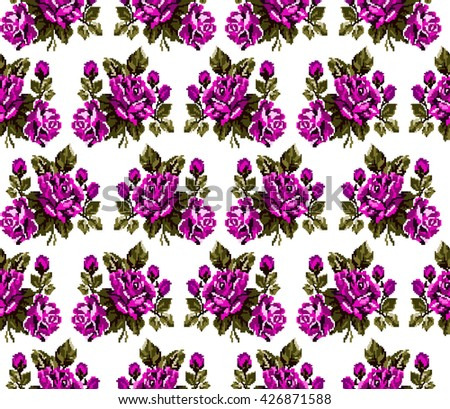 Seamless. Pattern. Color bouquet of flowers roses  using traditional Ukrainian embroidery elements. Can be used as pixel-art, card, emblem, icon.Pink and green tones. - stock photo