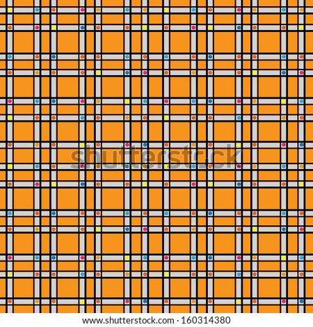 seamless pattern colored geometric ornament on orange background