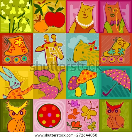 seamless pattern - colorful cute animals, toys and plants on a checked background - stock photo