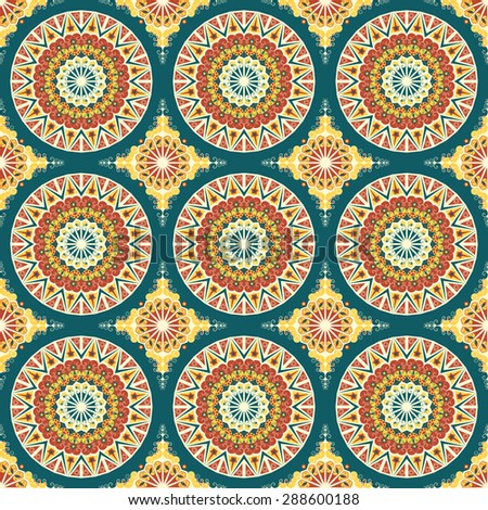 Seamless pattern. Colorful ethnic ornament. Arabesque style - stock photo