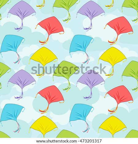 Seamless pattern colorful kites flying in the cloudy sky.Banner for the festival, or a children's holiday