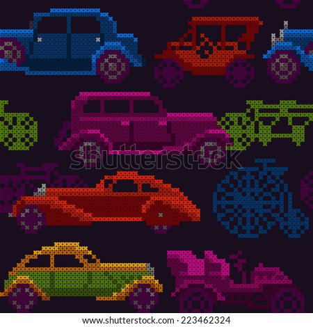 seamless pattern - colorful old timer cars and bicycles - stock photo