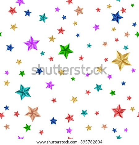 Seamless Pattern. Colorful Stars Isolated on White Background. Raster Illustration
