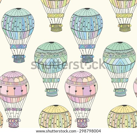 Seamless pattern cute bright aerostat  illustration - stock photo