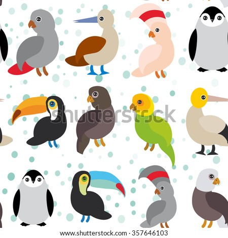 seamless pattern Cute Cartoon birds set - gannet penguin toucan parrot eagle booby on white background.