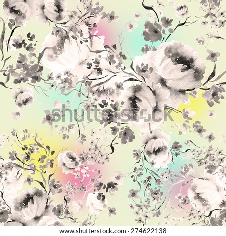 Seamless pattern delicate spring flowers W - stock photo