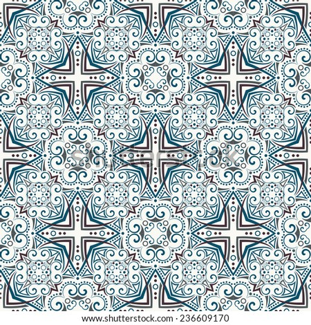 seamless pattern: detailed colorful ornament. Raster version. - stock photo