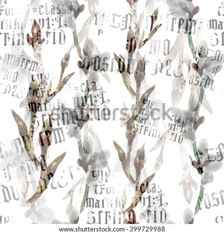 seamless pattern fantasy composition with  Spring tree branch with buds and handmade ink letters in Gothic style - stock photo