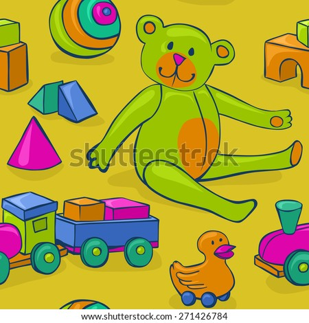 seamless pattern featuring colorful, cute, classic kids toys - teddy bear, duck on wheels, building blocks, ball and wooden train - stock photo