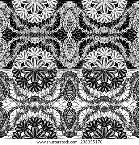 Seamless pattern - floral lace ornament - white and black background