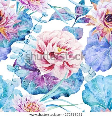 Seamless Pattern Flower Peony Wallpaper