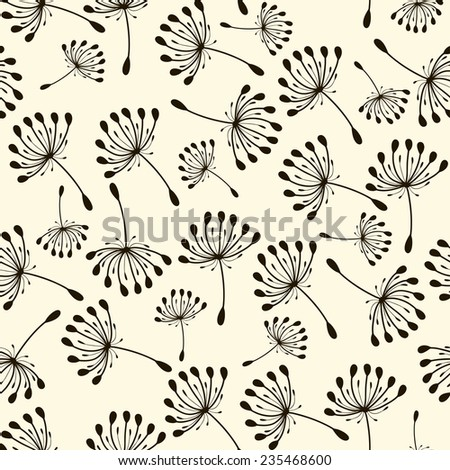 seamless pattern. Flying of dandelion seeds. Stylish repeating texture - stock photo