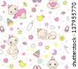 Seamless pattern for baby girls. - stock photo