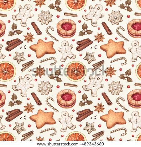 Seamless pattern. Gingerbread cookies and Christmas spices illustrations